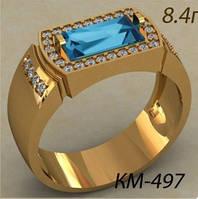 Презентабельный золотой Мужской перстень 585 * с прямоугольным камнем