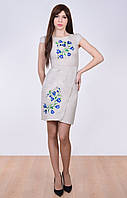 Вышитое платье из натурального некрашеного льна