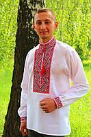 """Вышиванка мужская """"Федор"""" (красный) ткань поплин"""