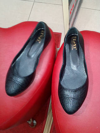 Балетки женские кожаные чёрные LEXI тату., фото 2