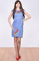 Вышитое платье в яркие цветы - маки, васильки