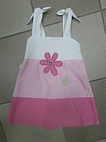 Детский сарафан бело-розовый на 1 годик