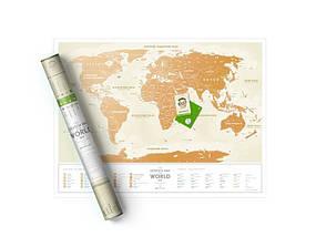 "Скретч карта Світу 1DEA.me ""Travel Map Gold World"" (укр) (тубус), фото 3"