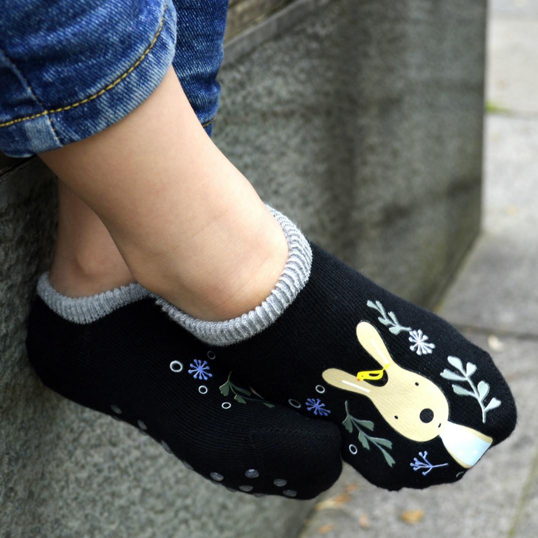 Детские носки антискользящие Le Sucre черные с серой резинкой