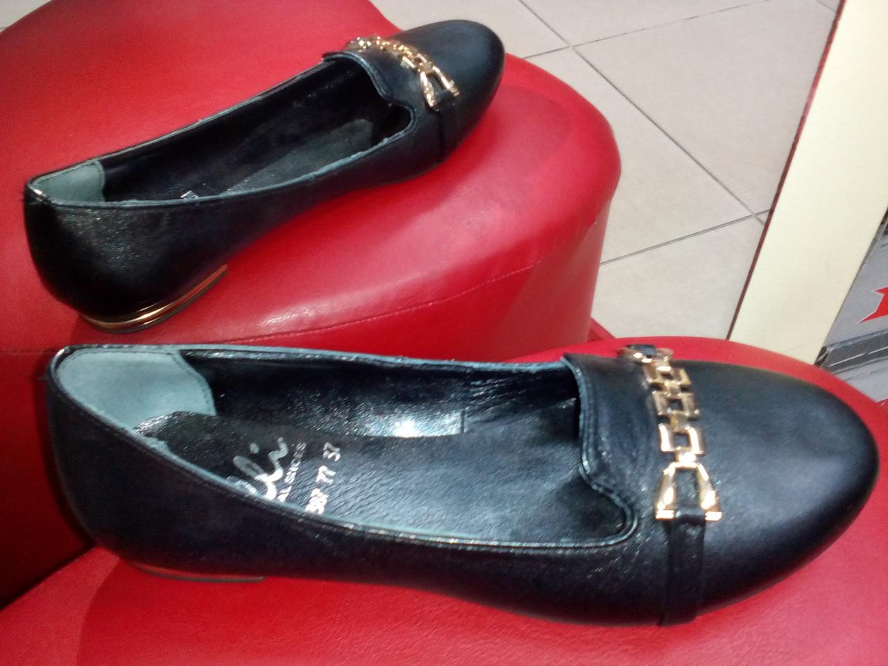 Туфли кожаные черные OLLI