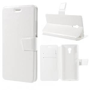Чехол книжка для Meizu MX6 боковой с отсеком для визиток, Гладкая кожа Белый