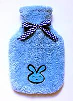 Чехол для грелки махровый голубой детский с аппликацией.