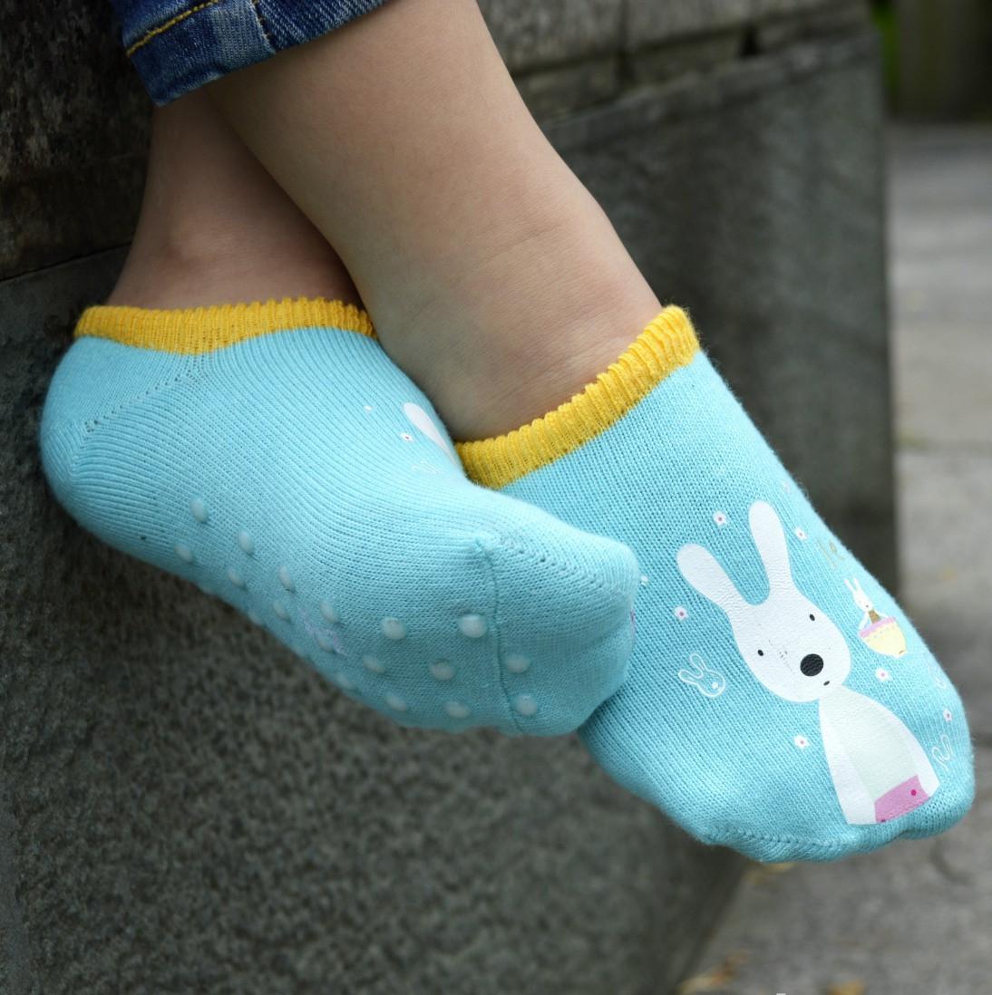 Детские носки антискользящие Le Sucre Бирюзовые с желтой резинкой
