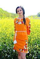 """Вышитое платье """"Марися"""" синее, оранжевое, желтое (материал лён)"""