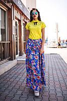 """Длинная синяя юбка с принтом """"цветы"""". Арт-5540/54"""