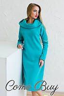 Женское Теплое длинное платье с капюшоном мята