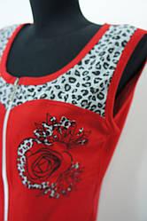 Летний женский халат красного цвета