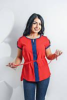 Шифоновая блуза с отделкой красная