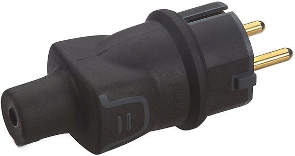 Вилка с з/к 16А резиновая IP44, черный