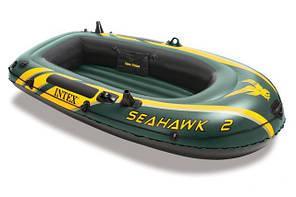 Лодка надувная двухместная Intex 68346: 236*114, высота 41 см, 7 г, надувное дно, нагрузка 200кг
