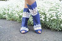 Женские летние сапоги джинс со вставкой