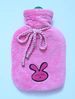 Чехол для грелки махровый розовый детский с аппликацией.