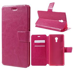 Чехол книжка для Meizu MX6 боковой с отсеком для визиток, Гладкая кожа Розовый