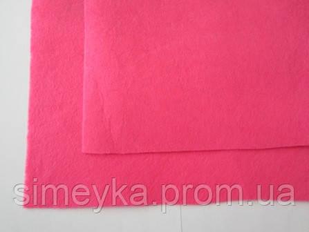 Фетр для рукоделия листовой, 1 лист 40*50 см, жёсткий, толщина 1 мм; ярко-розовый