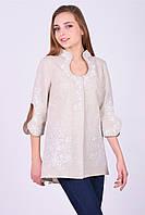 Вышитая блузка - туника Капелька в бежевом цвете