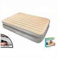 Надувная кровать Bestway 67477: 203*152*41см, электронасос/сумка, 11 кг, бежево-серый