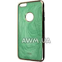 Силиконовый чехол накладка Ou case для Apple iPhone 6 Plus / 6S Plus зеленый мрамор