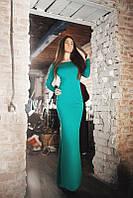 Элегантное зелёное платье в пол с открытой спинкой. Арт-5545/54