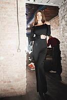 Элегантное чёрное платье в пол с открытой спинкой. Арт-5545/54