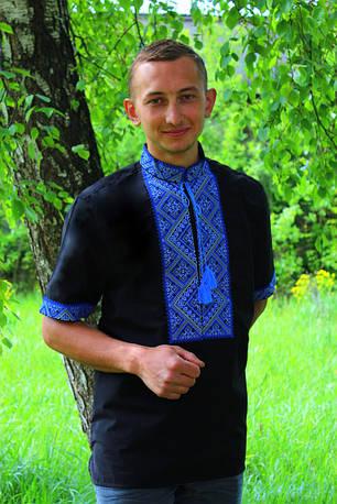 """Мужская вышиванка """"Федор"""" - черно-синий, поплин, кор.рук."""