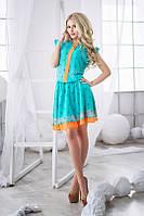 Платье Летнее шифоновое скрипичный ключ отделка оранж