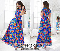 """Модное синее платье в пол принт """"цветы"""". Арт-5547/54"""