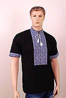 """Мужская вышиванка """"Федор"""" - черно-серый, поплин, кор.рук."""