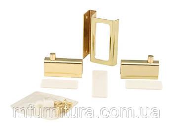 Набор для стеклянных дверц ZS90 / 2 петли+1 ручка / золото