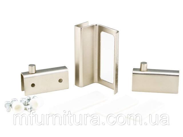 Набор для стеклянных дверц ZS90 / 2 петли+1 ручка / сатин