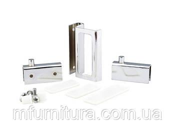 Набор для стеклянных дверц ZS90 / 2 петли+1 ручка / хром