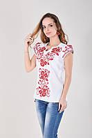 Блуза без рукавов в в красный цветочный орнамент