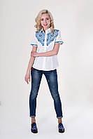 Белая вышитая рубашка с коротким рукавом, фото 1