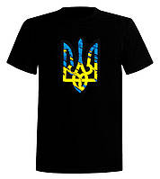 Футболка Тризуб жовто блакитний штрих