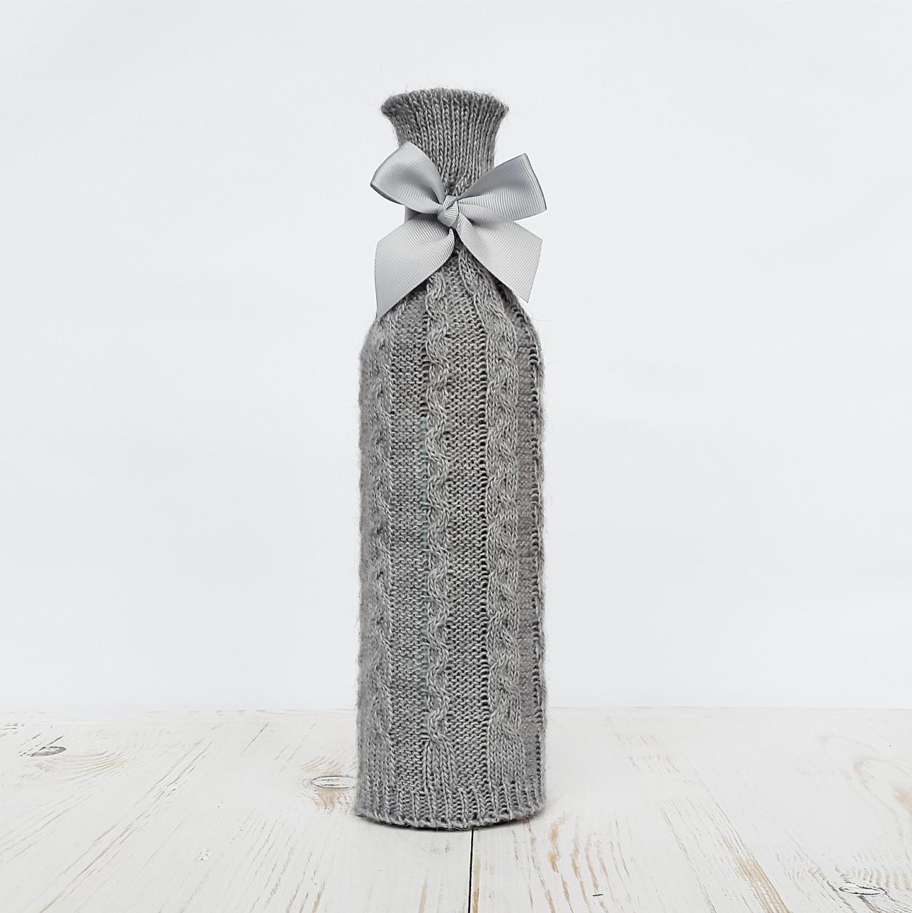 Чехол на бутылку вязаный Ohaina цвет сталь