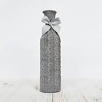 Чехол на бутылку Ohaina вязаный в косы  цвет сталь, фото 1