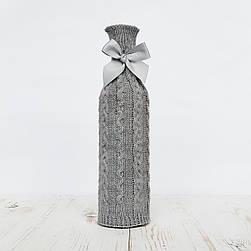Вязаный чехол на бутылку Ohaina Silver grey