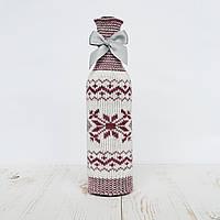 Чехол на бутылку Ohaina вязаный скандинавская коллекция цвет слива и молоко, фото 1
