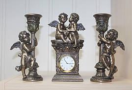 Каминный набор Veronese Ангелочки (часы и 2 подсвечника) с бронзовым покрытием