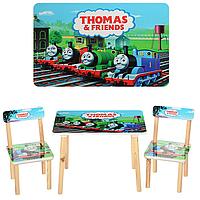 Детский деревянный столик Томас 501-27: 2 стула 28х28х51,5 см, стол 60х40 см, МДФ/дерево
