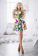 Платье Летнее шифоновое ярусные воланы зелёные бабочки