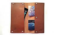 Кошелек чехол для телефона из натуральной кожи коричневый тонкий ручная работа. KAG Leather МК-104К