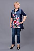 Очень красивая женская туника в цветах, размер 48