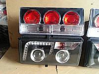 Передние+задние фары на ВАЗ 2107 №4 черные., фото 1