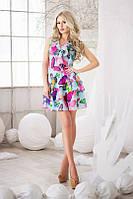 Платье Летнее шифоновое ярусные воланы яркие бабочки