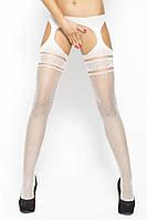 Белые сексуальные чулки с поясом BS002 white Passion